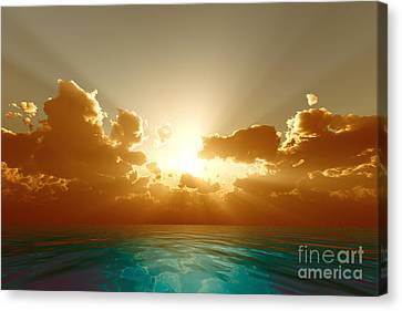 Sun Rays Canvas Print - Rays In Golden Clouds by Aleksey Tugolukov
