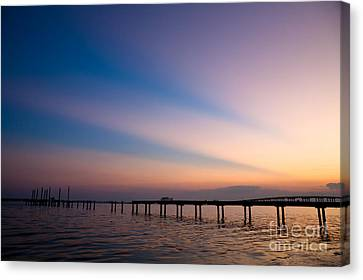 Rays Over Biloxi Bay Canvas Print by Joan McCool