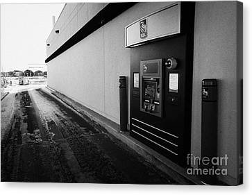 rbc drive through atm outside bank in winter Saskatoon Saskatchewan Canada Canvas Print by Joe Fox