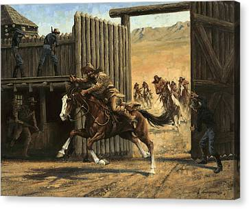 Re-closing Frontiersmen Coming Into The Fort Canvas Print by Don  Langeneckert