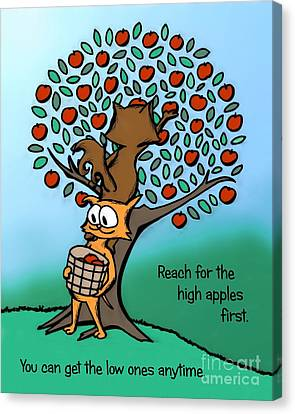Canvas Print featuring the drawing Reach For The High Apples by Pet Serrano
