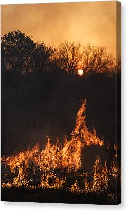 Canvas Print featuring the photograph Reaching Flames by Scott Bean