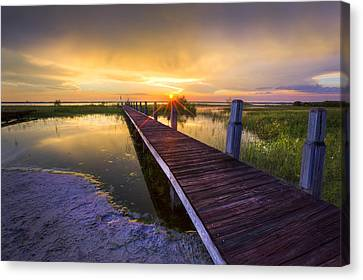 Reaching Into Sunset Canvas Print by Debra and Dave Vanderlaan
