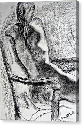 Woman Drawings Drawings Canvas Print - Reaching Out by Kendall Kessler