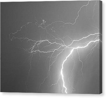 Lightening Canvas Print - Reaching Out Touching Me Touching You Bw by James BO  Insogna