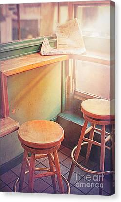 Old Diner Seating Canvas Print - Read Eat Sit by Danilo Piccioni
