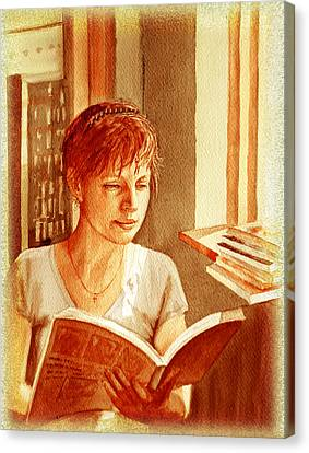 Reading A Book Vintage Style Canvas Print by Irina Sztukowski