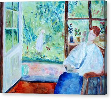 Canvas Print featuring the painting Reading By The Garden by Aleezah Selinger