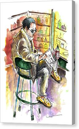 Reading El Pais And Drinking Rioja In Spain Canvas Print by Miki De Goodaboom