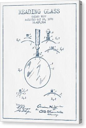 Reading Canvas Print - Reading Glass Patent From 1890- Blue Ink by Aged Pixel