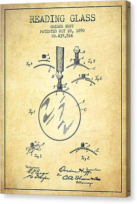 Reading Glass Patent From 1890 - Vintage Canvas Print by Aged Pixel