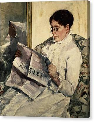 Reading Le Figaro Canvas Print by Mary Stevenson Cassatt