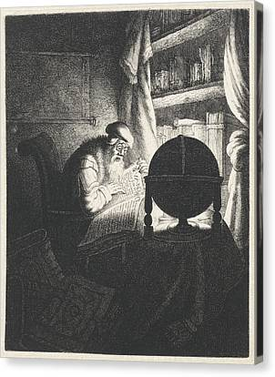 Reading Man With Glasses In A Study Room Canvas Print by Jan Gillisz. Van Vliet