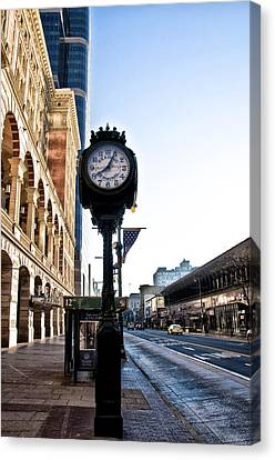 Reading Terminal Clock - Market Street Canvas Print by Bill Cannon