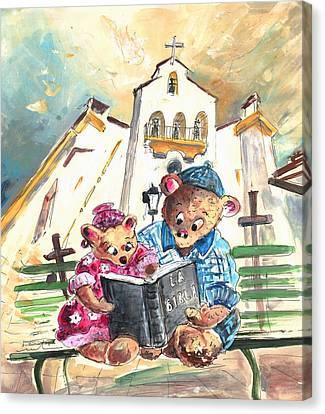 Reading The Bible In La Iruela In Spain Canvas Print by Miki De Goodaboom