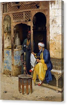 Reading The Newspaper Canvas Print by Munir Alawi