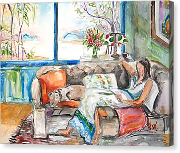 Canvas Print featuring the painting Reading Time by Becky Kim