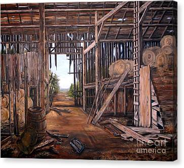 Canvas Print featuring the painting Reads Barn Hwy 124 by Anna-maria Dickinson