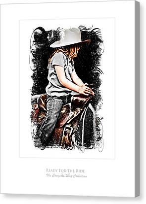 Bulls Canvas Print - Ready For The Ride by Denise Teague
