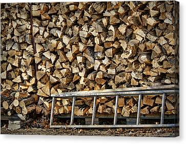 Woodpile Canvas Print - Ready For Winter #1 by Nikolyn McDonald
