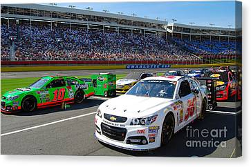 Ready In Pit Row Canvas Print by Mark Spearman