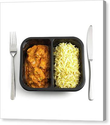 Ready Meal Curry And Rice Canvas Print by Science Photo Library