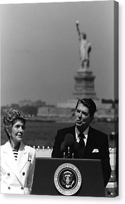 Reagan Speaking Before The Statue Of Liberty Canvas Print by War Is Hell Store