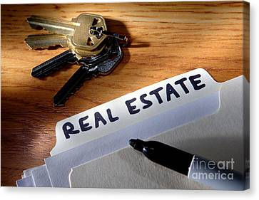 File Canvas Print - Real Estate File Folder With Marker And House Keys by Olivier Le Queinec