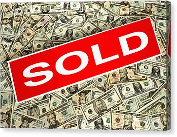 Banknotes Canvas Print - Real Estate Sold Sign Over Dollar Money Background by Olivier Le Queinec