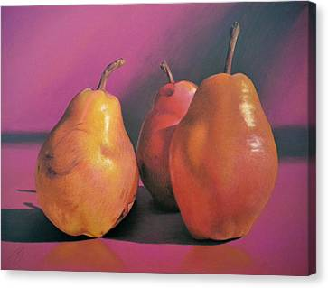 Really Red Pears Pastel Canvas Print