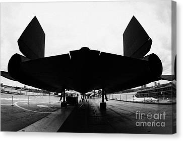 rear of Lockheed A12 Blackbird on the flight deck of the USS Intrepid  Canvas Print