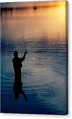 New Individuals Canvas Print - Rear View Of Fly-fisherman Silhouetted by Panoramic Images