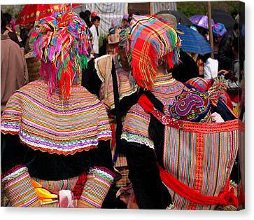 Rear View Of Two Flower Hmong Women Canvas Print by Panoramic Images