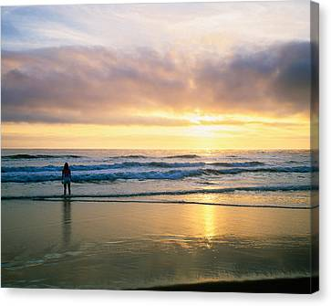 Rear View Of Woman On Beach Looking Canvas Print by Panoramic Images