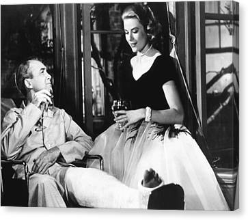 Films By Alfred Hitchcock Canvas Print - Rear Window, From Left James Stewart by Everett