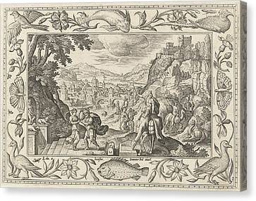 Rebecca And Eliezer At The Well, Adriaen Collaert Canvas Print by Adriaen Collaert And Eduwart Van Hoeswinckel