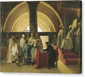 Chivalrous Canvas Print - Reception Of Jacques De Molay . 1840s by Everett