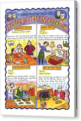 Cheese Canvas Print - Recipes From The Revised Senior Citizen Cookbook by Roz Chast