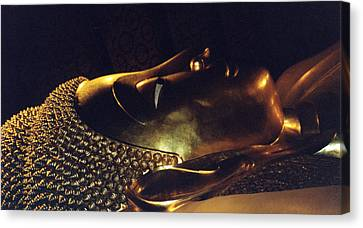 Canvas Print featuring the photograph Reclining Buddha by Mary Bedy