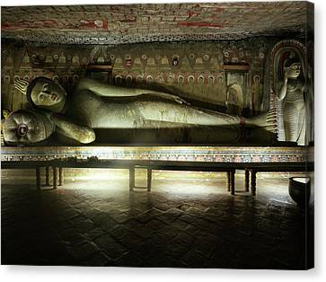 Golden Temple Canvas Print - Reclining Buddha Statue In Cave IIi by Panoramic Images