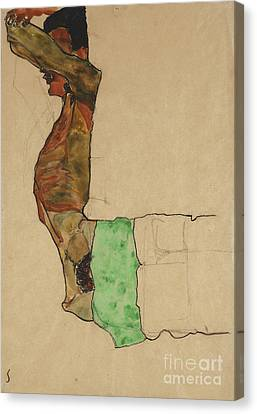 Fabric Canvas Print - Reclining Male Nude With Green Cloth by Egon Schiele