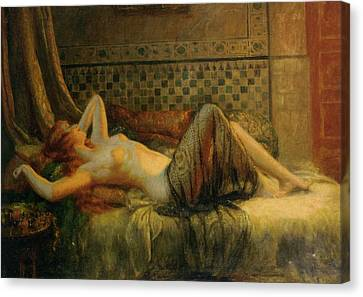 Canvas Print featuring the painting Reclining Nude   by Delphin Enjolras