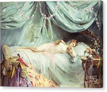 Reclining Nude In An Elegant Interior Canvas Print