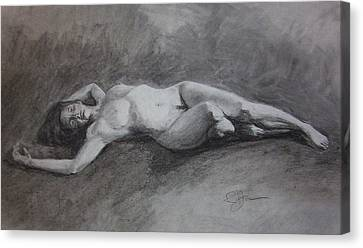 Reclining Nude Canvas Print by Rachel Hames