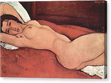 Reclining Nude With Arms Behind Her Head Canvas Print by Amedeo Modigliani