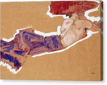 Reclining Semi-nude With Red Hat Canvas Print by Egon Schiele