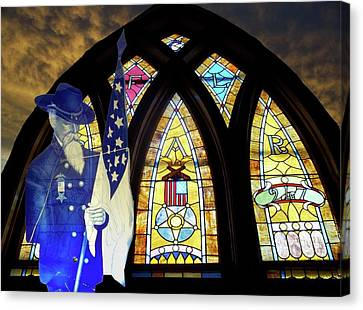 Recollection Union Soldier Stained Glass Window Digital Art Canvas Print by Thomas Woolworth