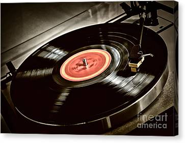 Record On Turntable Canvas Print