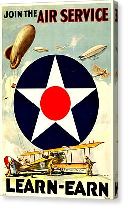 Recruiting Poster - Ww1 - Air Service Canvas Print by Benjamin Yeager