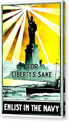 Recruiting Poster - Ww1 - For Liberty's Sake Canvas Print by Benjamin Yeager